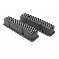 Garage Sale - 1987-1997 Small Block Chevy Short Finned Valve Covers, Black Aluminum