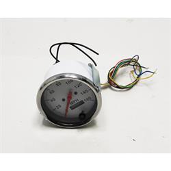 Speedway Speedometer Gauge, White Face, 3-3/8, Electric