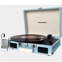Crosley CR8005D-TU Cruiser Portable Turntable, Turquoise, Bluetoo