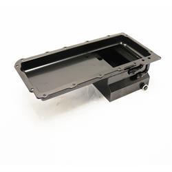 Black Steel GM LS Oil Pan, 7 Quart, 90 Degree Fitting