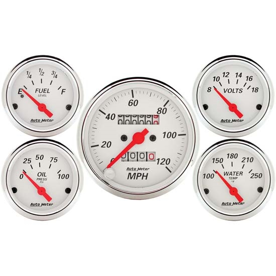 Auto Meter 1300 Arctic White 5 Piece Gauge Kit
