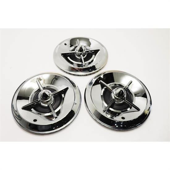 1957 Lancer Chrome 15 Inch Hubcaps, Set of 3