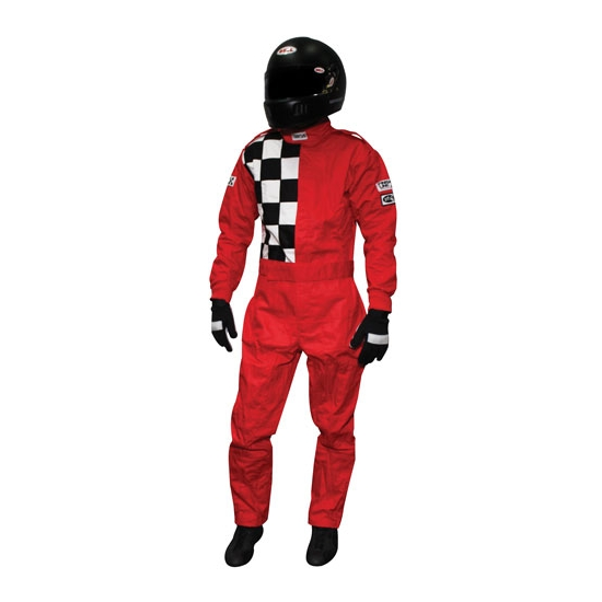 Finishline 2-Layer SFI-5 Fire Retardant Racing Suit, Red XXL