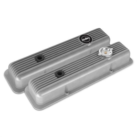 Holley 241-134 Muscle Series Valve Covers, SBC, Natural Finish