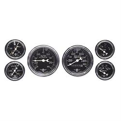Stewart Warner 82225 Wings Six Black Gauge Set, Electric/Mechanic
