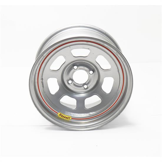 Bassett 57RH4S 15X7 Dot D-Hole 4 on 100mm 4 In BS Silver Wheel