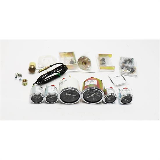 Stewart Warner 82225 Wings Six Black Gauge Set, Electric/Mechanic