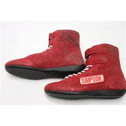 Simpson 28950R Suede Hightop Driving Shoes, Red 9.5